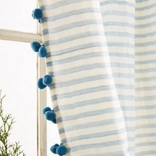 Blue And White Striped Curtains With Blue Pom Pom Trim