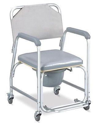 shower chair with wheels and removable arms add on headrest for office toilet frames commodes 3 in 1 commode wheelchair bedside padded seat pail cover tool free back rest overall width wide height fixed depth 18