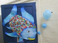 The rainbow fish door decoration