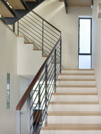 Handrailing staircase modern with metal railing frosted ...