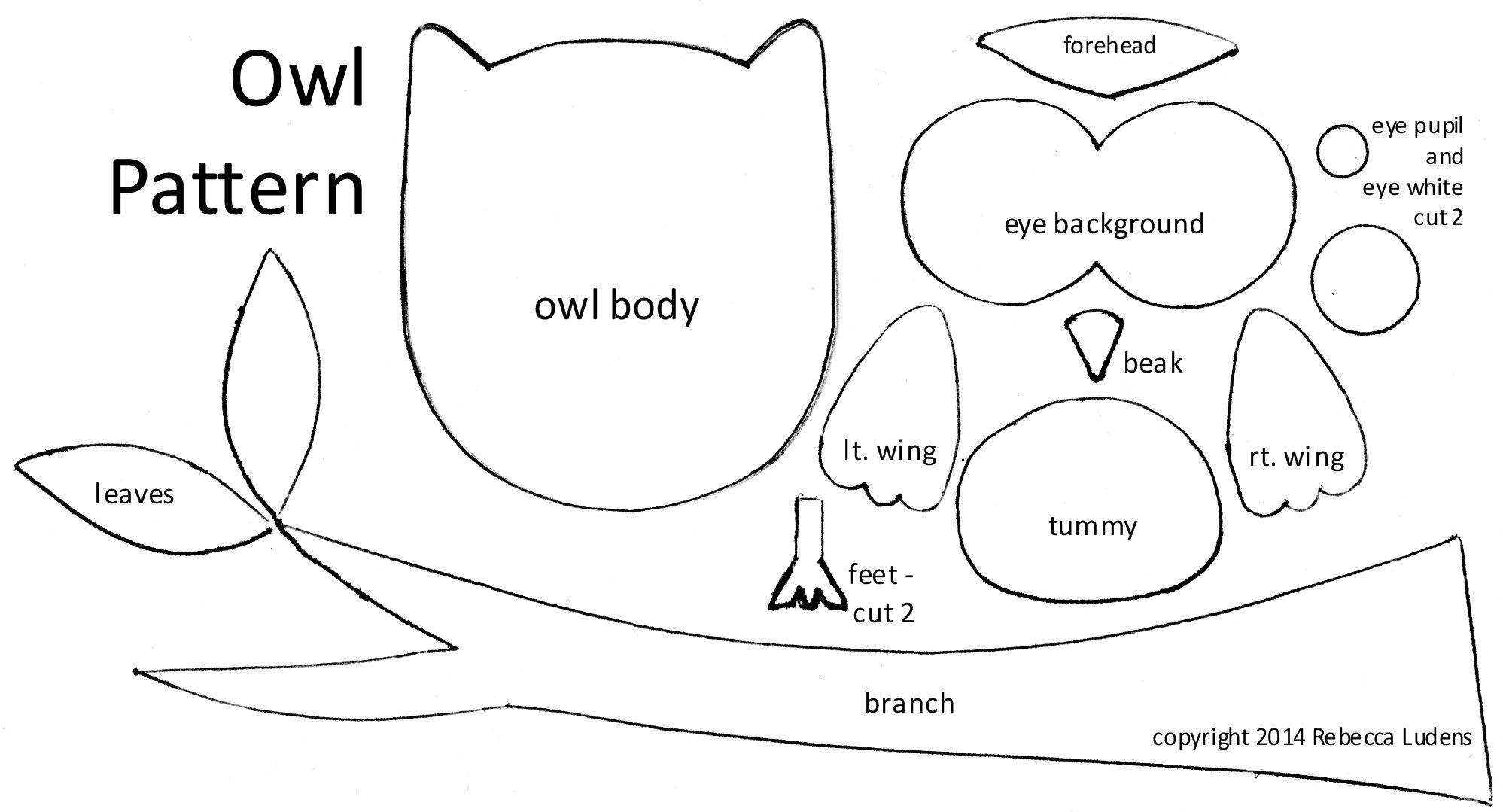 Free Owl Pattern with Branch and Leaves for Scrapbooking