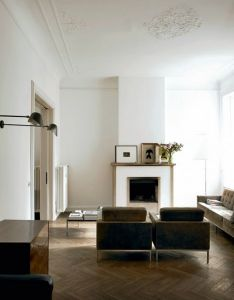 Contemporary interior design room with glass floor metal wood  concrete kitchen ceiling moulding white walls parkay also herringbone floors exquisite ceilings leaning artwork and rh pinterest