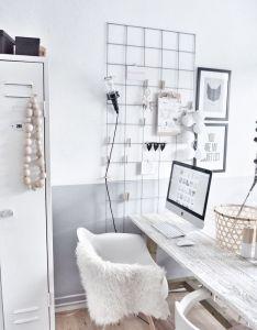 Home office neutrals decor studio space library desk also rh pinterest