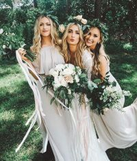 Boho neutral bridesmaid dresses