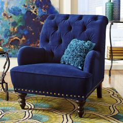 Tufted Nailhead Chair Fishing Feet Blue Velvet Arm Navy Royal Accent Steampunk Victorian Modern Dark #na #transitional ...