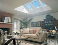 Skylights in living room. Flat ceiling with attic ...