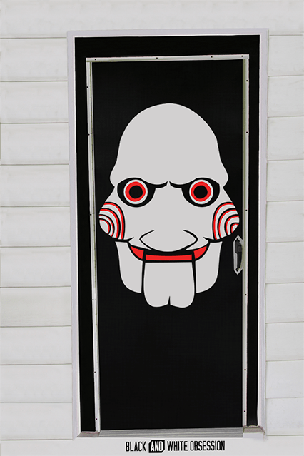 Movie Themed Halloween Door Decorations: Saw/Jigsaw