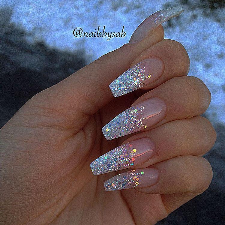 Holo glitter tip long coffin nails by @nailsbysab