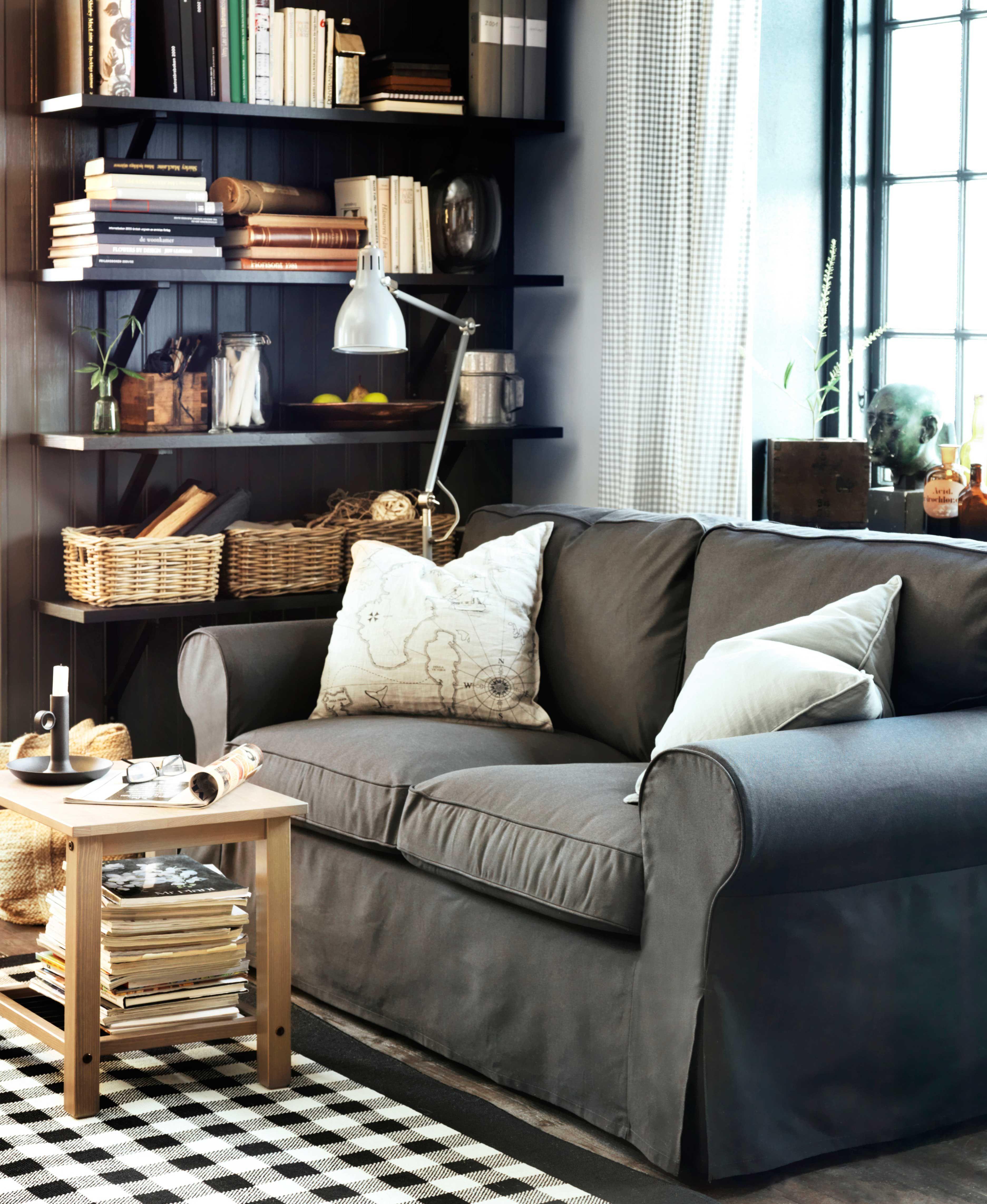 IKEA sterreich Inspiration Wohnzimmer Sitzecke Sofa EKTORP Leuchte ARD Teppich MILLINGE