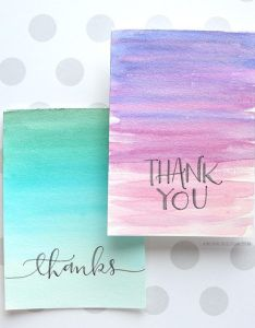 Easy diy thank you cards ombre watercolor also and rh pinterest
