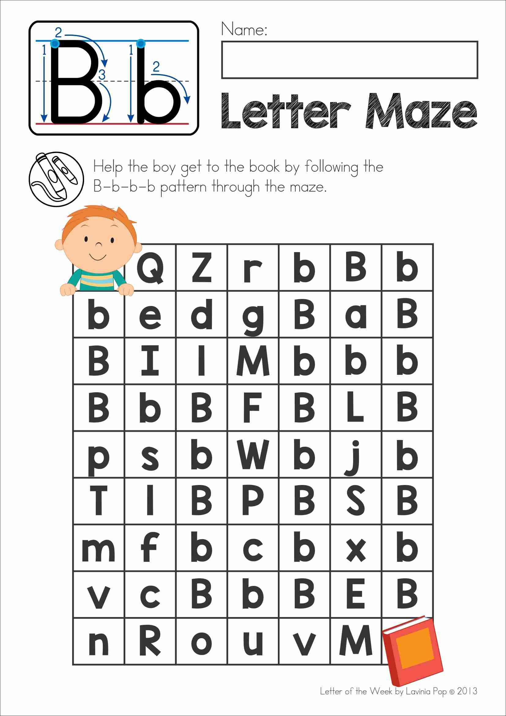 Free Phonics Letter Of The Week B Upper And Lower Case Letter Maze
