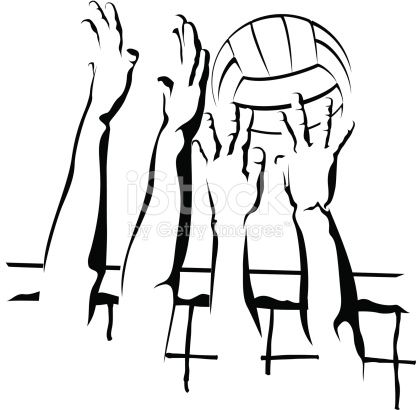 Vector illustration of a closeup volleyball block