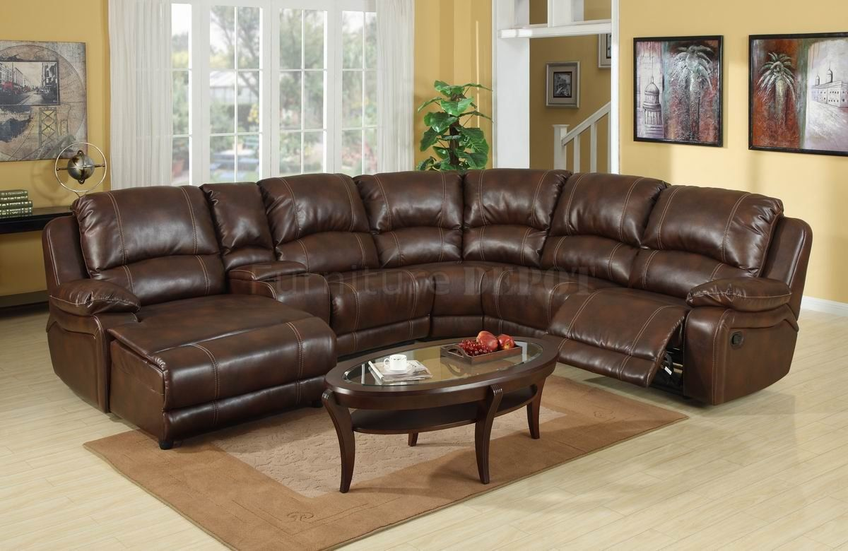 Dark Brown Leather Sectional Sofa With Recliner And Coffee Table