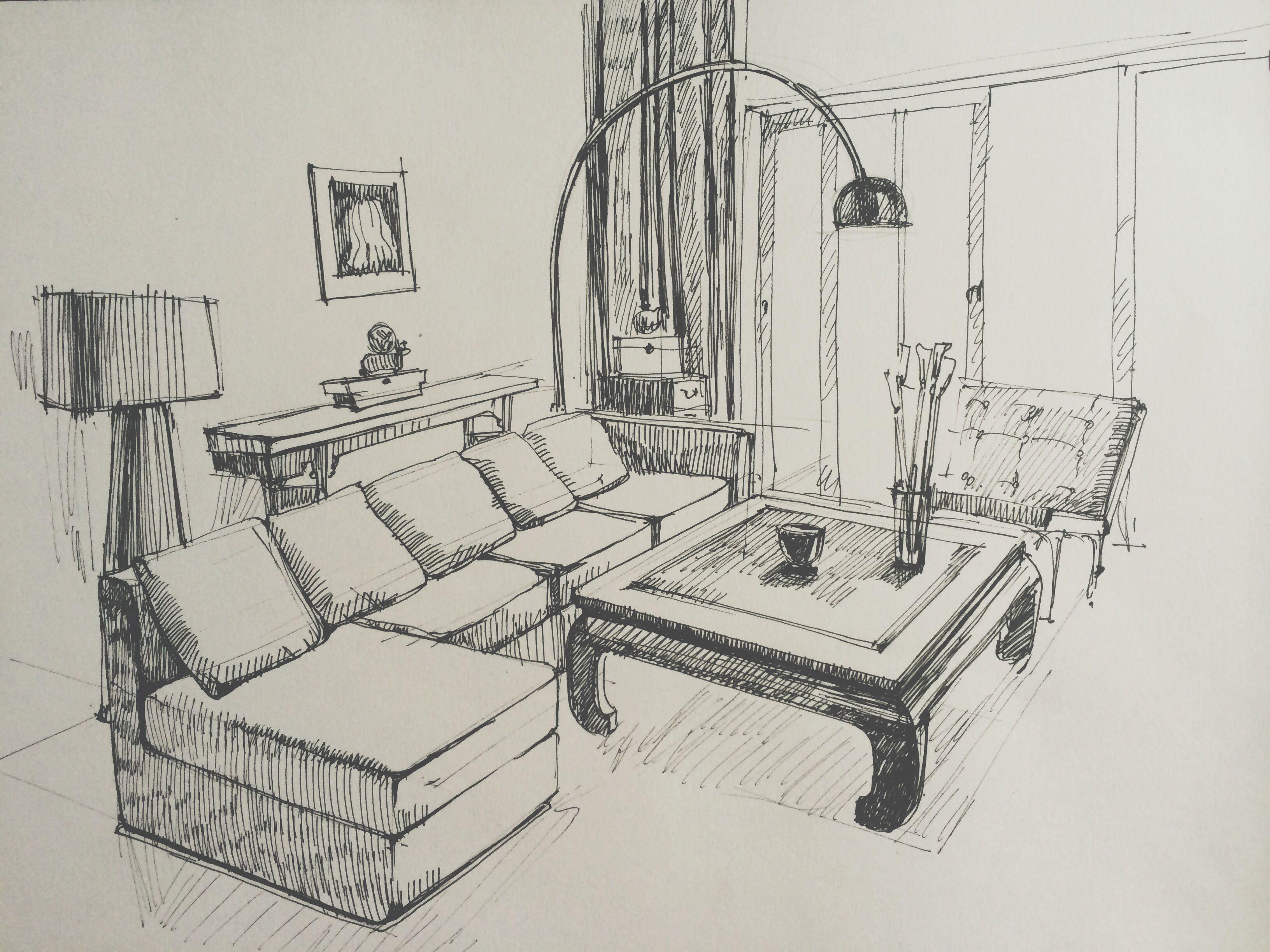 Living room sketch  Interior sketches  Pinterest