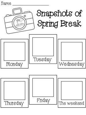 Spring Break activities: FREE Snapshots of Spring Break