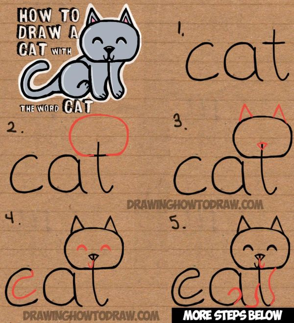 Draw Cat Word Simple Step