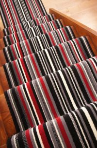 Black Red Grey Stripe Stair Carpet Runner Rug Narrow Wide