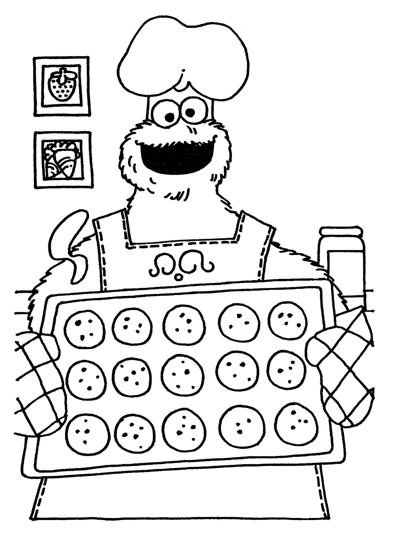 Cookie Monster Baking Coloring Pages