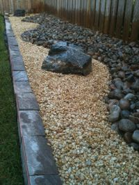 Landscaping DIY Backyard Rock River Garden With Black And