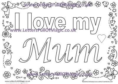 Mother's Day I LOVE MUM colouring sheet by www