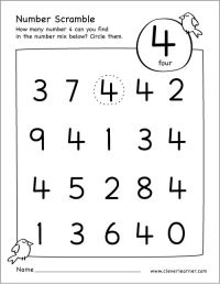 Free number scramble activities for preschool kids # ...