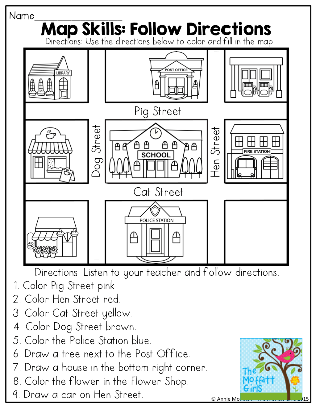 Map Directions Worksheets For Kids Sketch Coloring Page