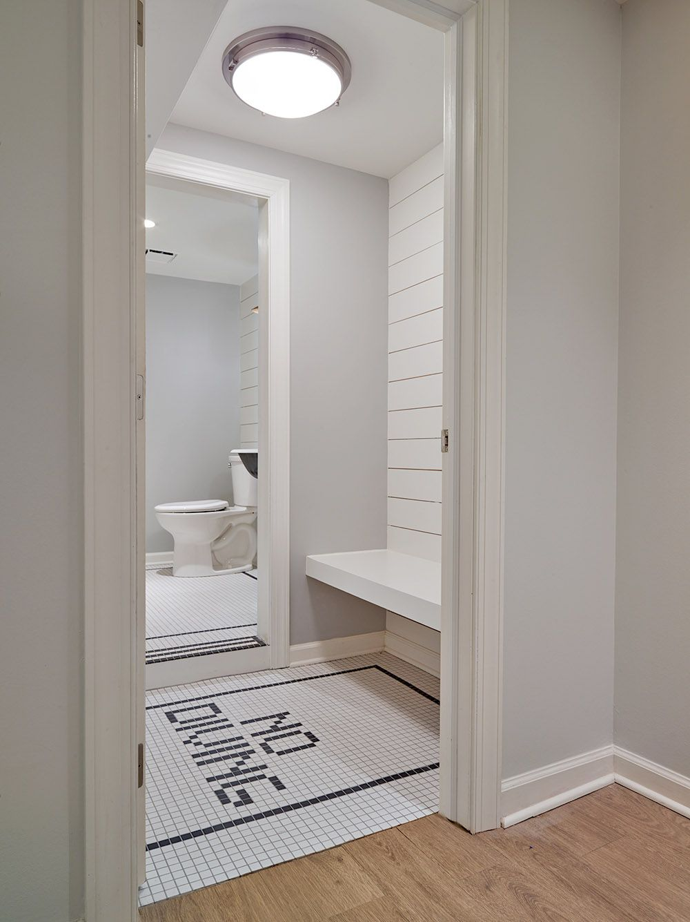 Nautical Changing Room For Pool House With White Ship Lap And Fun