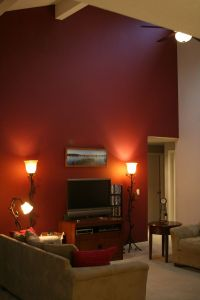 figuring out if a burgundy accent wall on cathedral ...