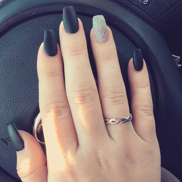 Black Coffin Shaped Nails Imgurl
