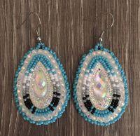 Navajo Native American Beaded Blue Tear Drop Dangle ...