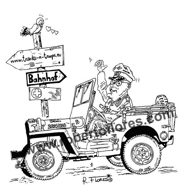 #Cartoon of a #WW2 #Willys #jeep MB captured by regular #