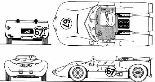 Line drawing of 1964 Chaparral 2 with alternate header