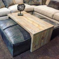 Leather ottoman/sliding wood coffee table. Super stylish ...