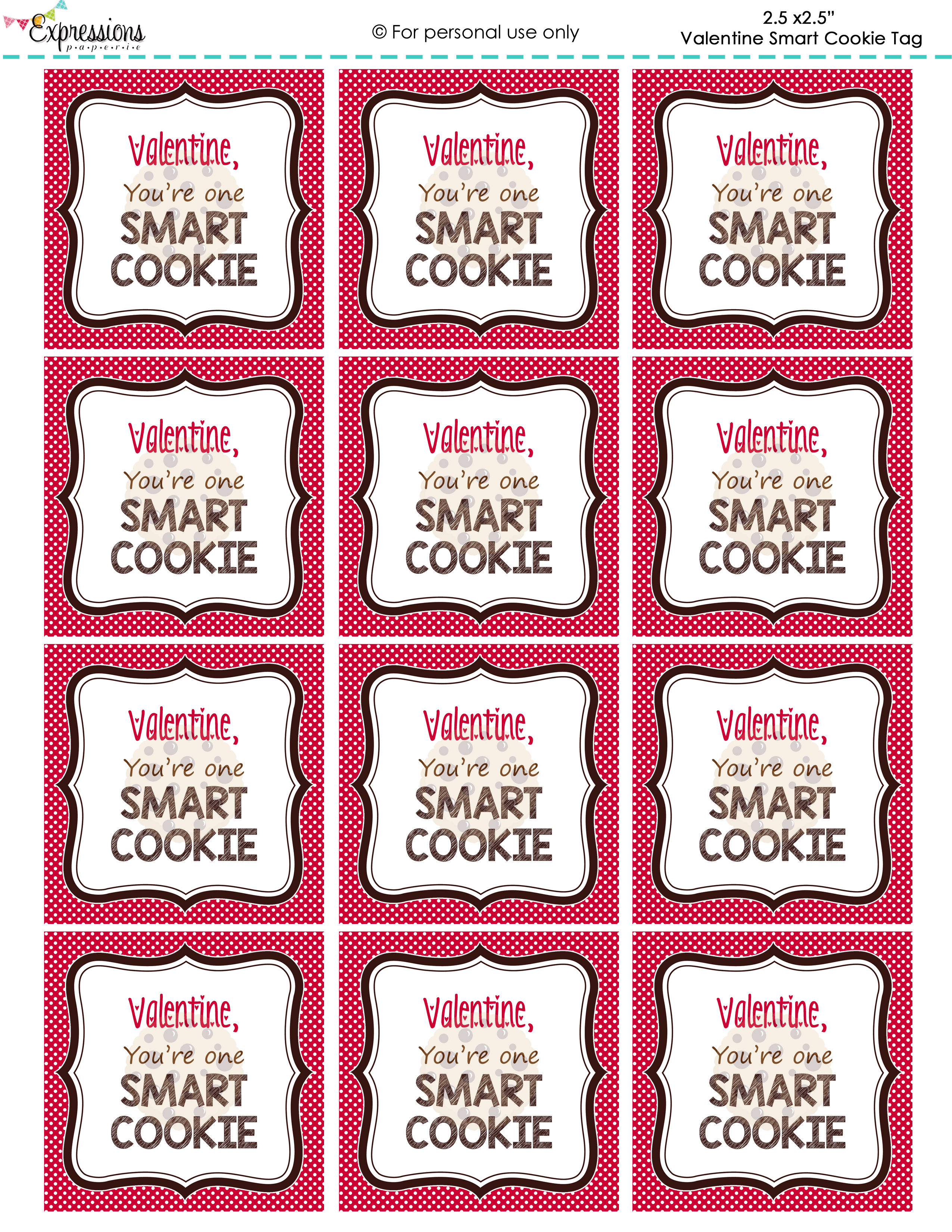 Freebie Valentine You Re One Smart Cookie Tags By
