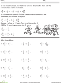 Adding and Subtracting Mixed Numbers | Worksheets, Number ...