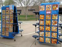 Art show outside: cafeteria tables for display! | Art ...