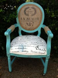 French Louis XVI Arm Chair Shabby Chic Upholstered Burlap ...