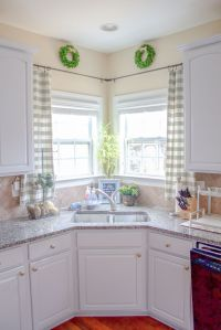 Kitchen Window Treatments | Corner window curtains, Window ...