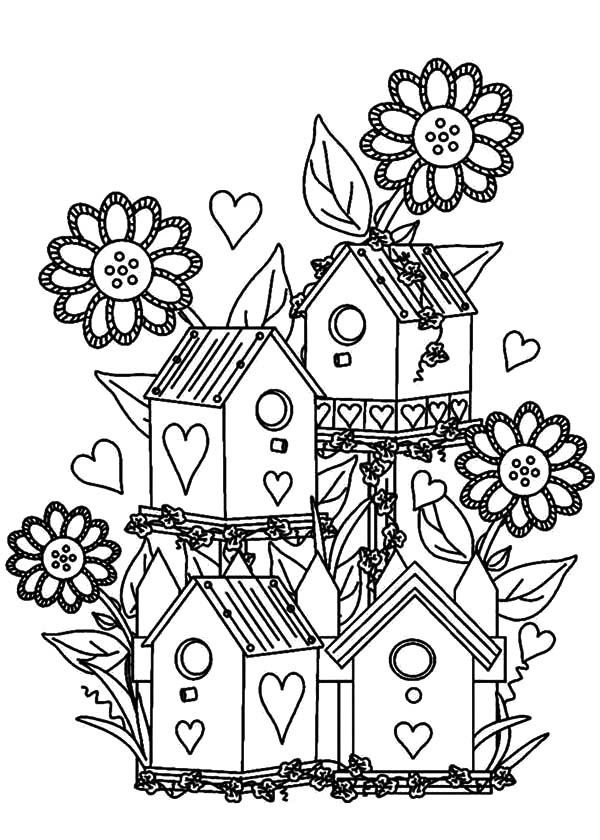 Bird House, : Bird House at Flower Garden Coloring Pages