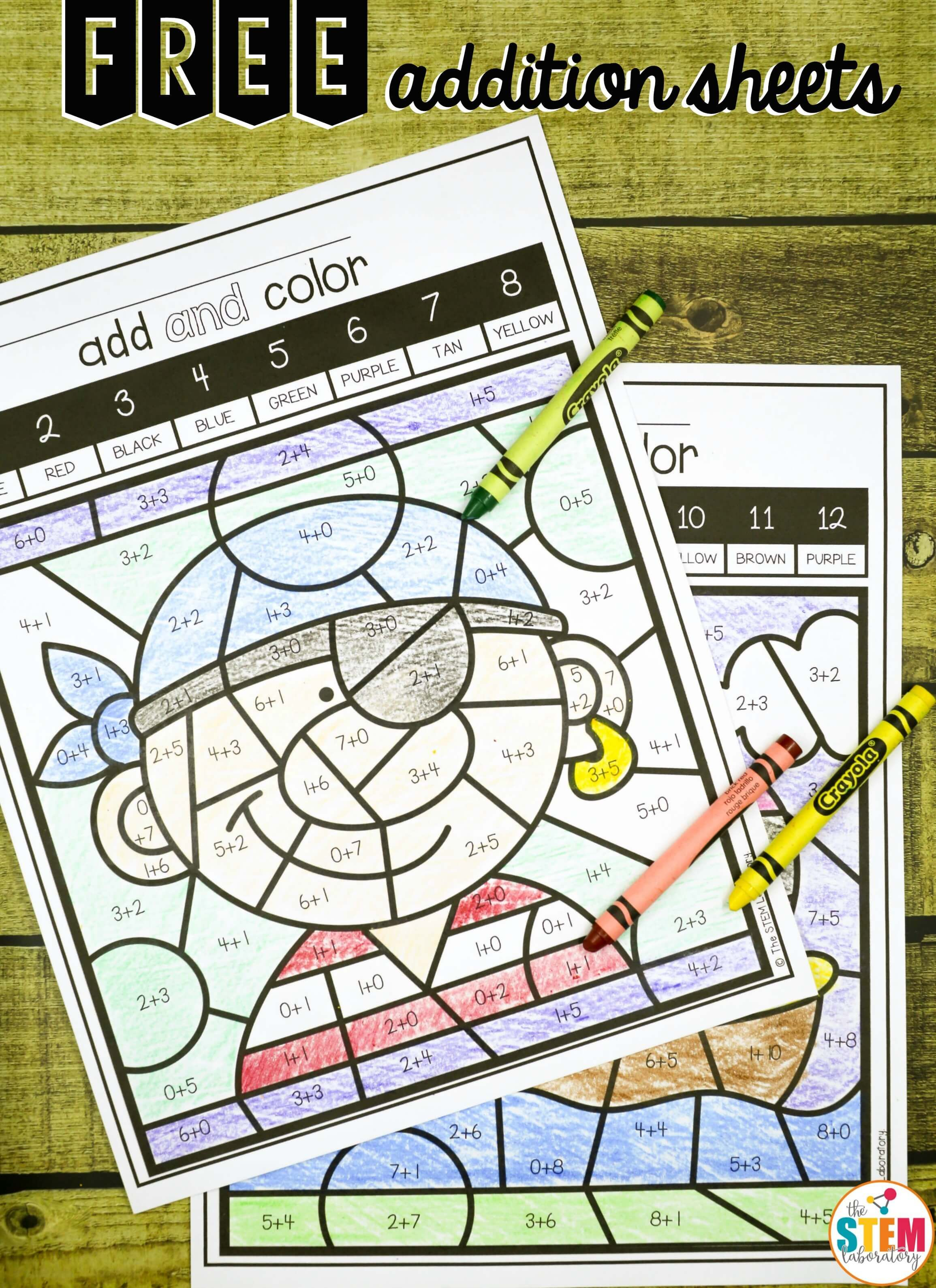 Free Color By Code Addition Sheets Fun Math Center And Addition Game