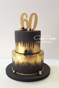 Black and gold cake for a man's 60th birthday. | Adult ...
