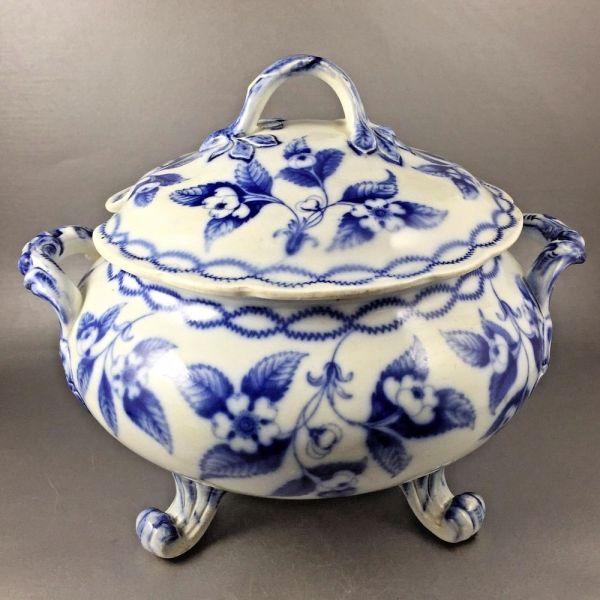 Details Antique Flow Blue Soup Tureen Registry Mark