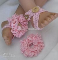 crochet pattern baby girl shoes sandals flowers barefoot ...