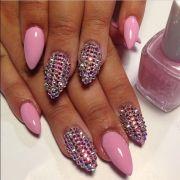 pink stiletto nails with rhinestone