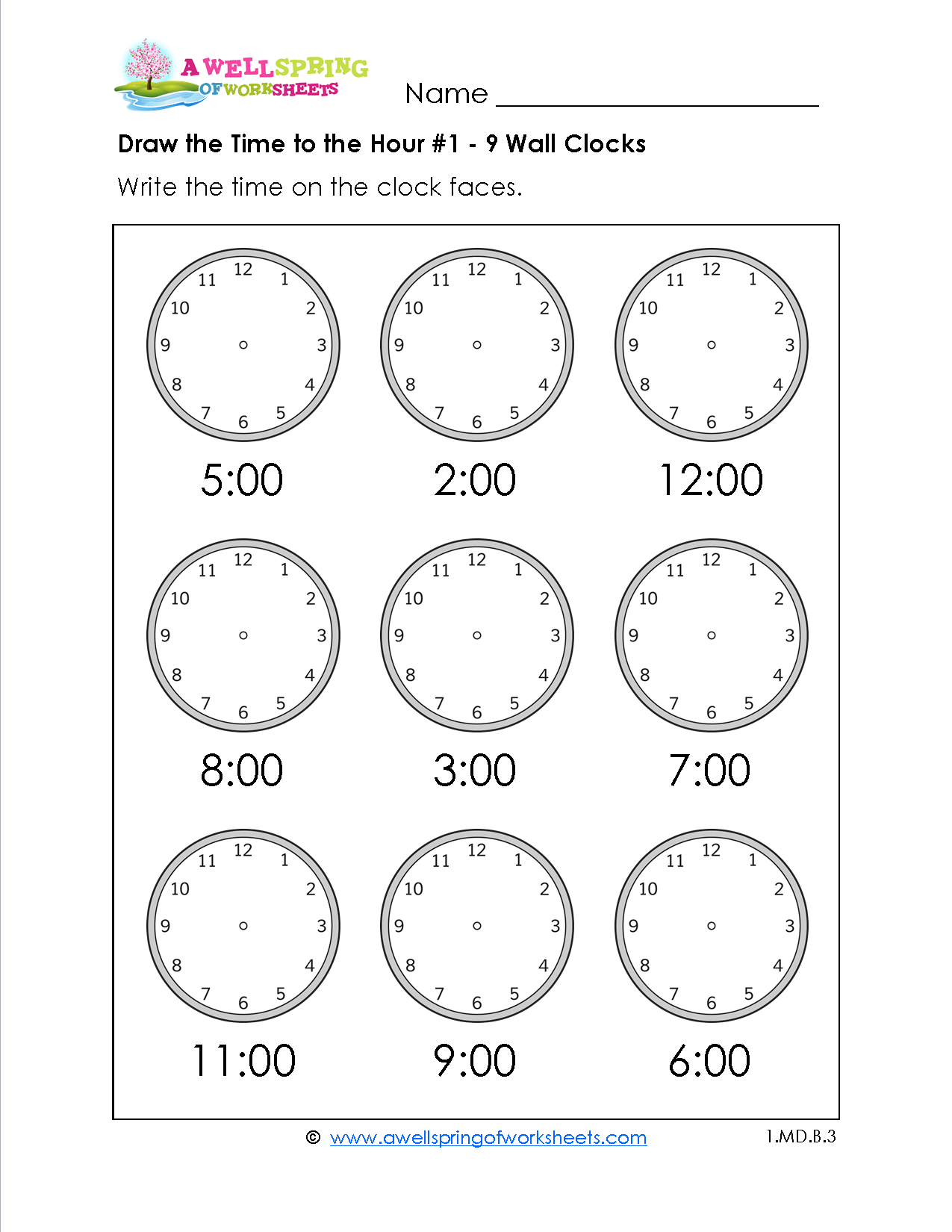 Draw The Time To The Hour Worksheets For First Grade
