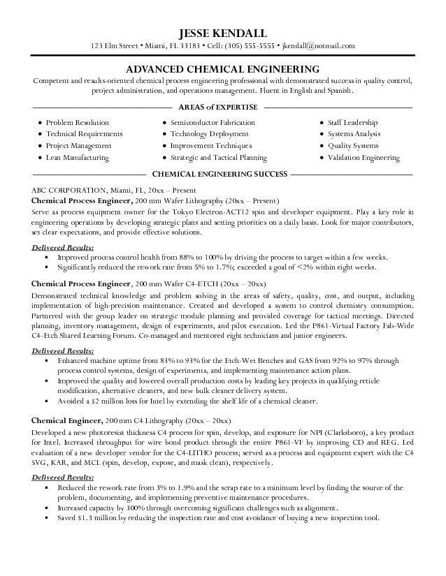 Chemical Engineering Resume Examples