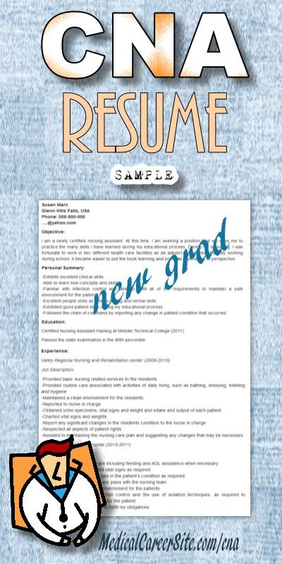Cna Resume Sample For New Graduate Cna  Resume Ideas