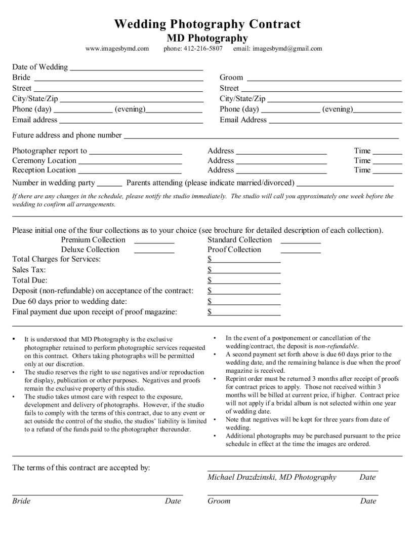 wedding photographer contract example