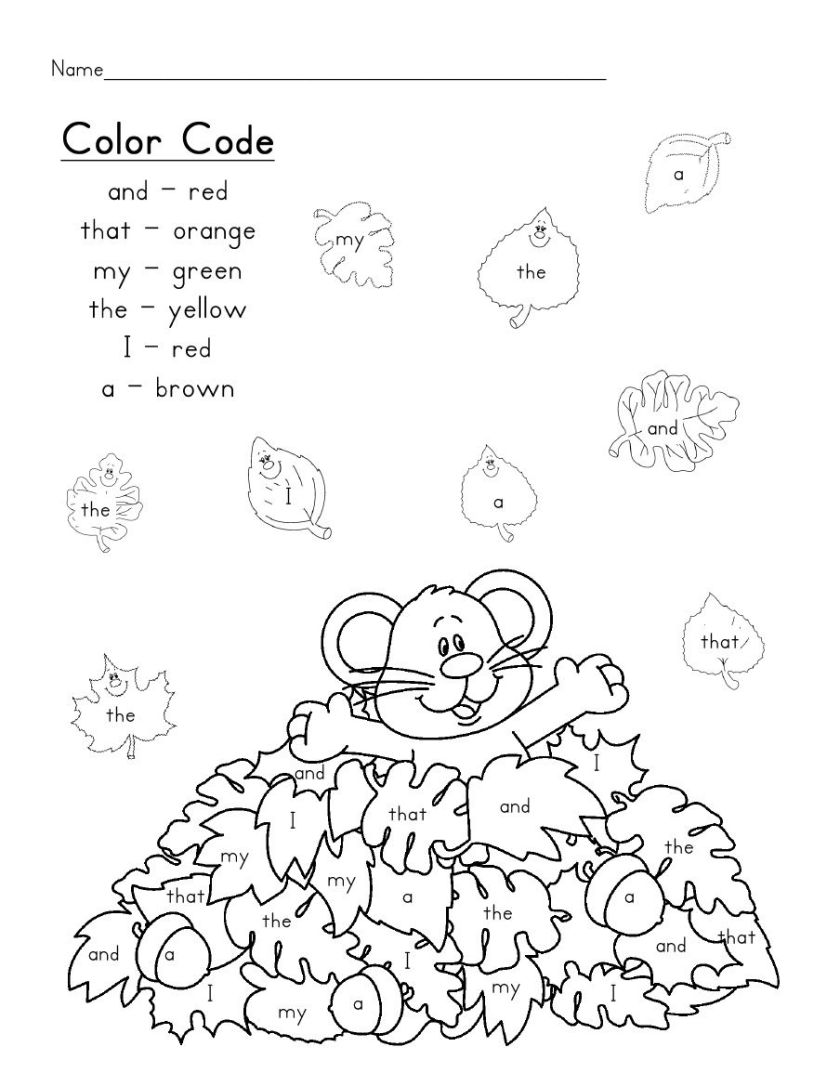 early fall sight word colorcode  the colours and the