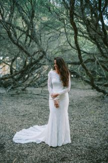 Barefoot Bride & Long-sleeved Mariana Hardwick Wedding Dress